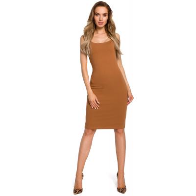 51974f3fed Prosta obcisła bawełniana sukienka mini na ramiączkach karmelowa M414