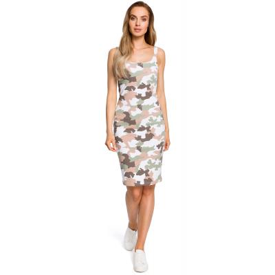 3b6bda0b06 Prosta obcisła bawełniana sukienka mini na ramiączkach moro M413 2