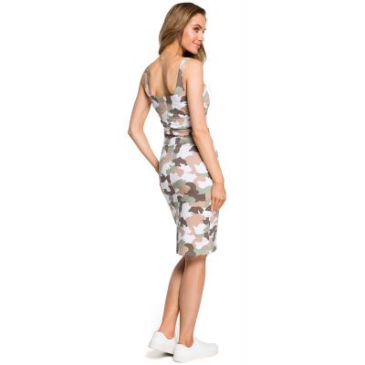 c53572b269 Prosta obcisła bawełniana sukienka mini na ramiączkach moro M413 2