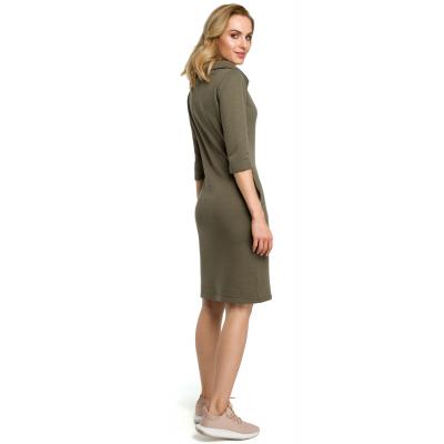 d45ef4e88c Sportowa sukienka z bawełny z szalowym kołnierzem zielona M391