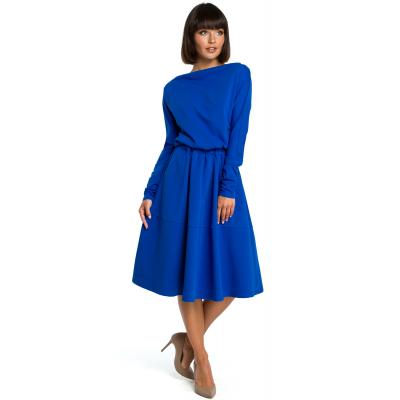 0478402206 Sukienka midi z luźną górą z rozkloszowanym dołem chabrowa B087