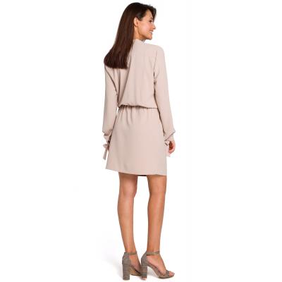 88f358e35e Sukienka mini odcinana w pasie z romantycznymi wiązaniami beżowa S147