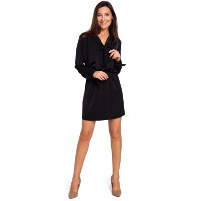 efd8da0fd7 Sukienka mini odcinana w pasie z romantycznymi wiązaniami czarna S147