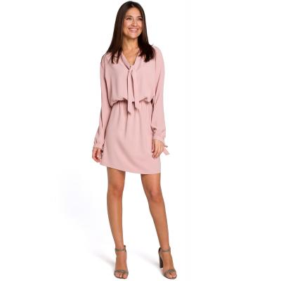 8efd0d57fe Sukienka mini odcinana w pasie z romantycznymi wiązaniami pudrowa S147
