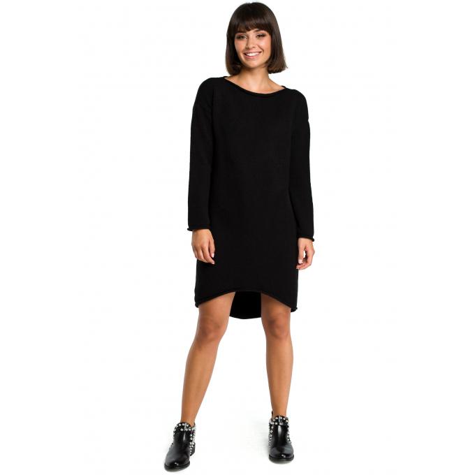 401c9a219a Sukienka swetrowa – dzianinowa asymetryczna midi czarna BK006