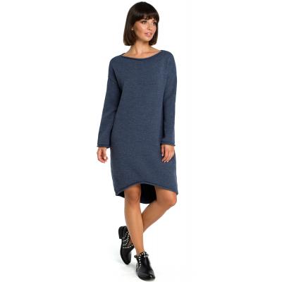 6e54332aec Sukienka swetrowa – dzianinowa asymetryczna midi niebieska BK006