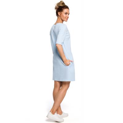 9903aae208 Sukienka z dzianiny dresowej z obniżoną talią błękitna M422
