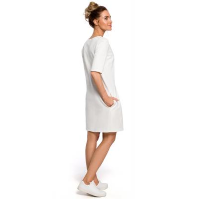 4932217d15 Sukienka z dzianiny dresowej z obniżoną talią ecru M422