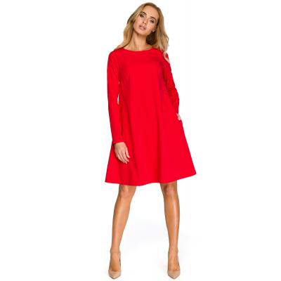 0360a61eeb Trapezowa krótka sukienka rozkloszowana z szyfonową wstawką czerwona S137
