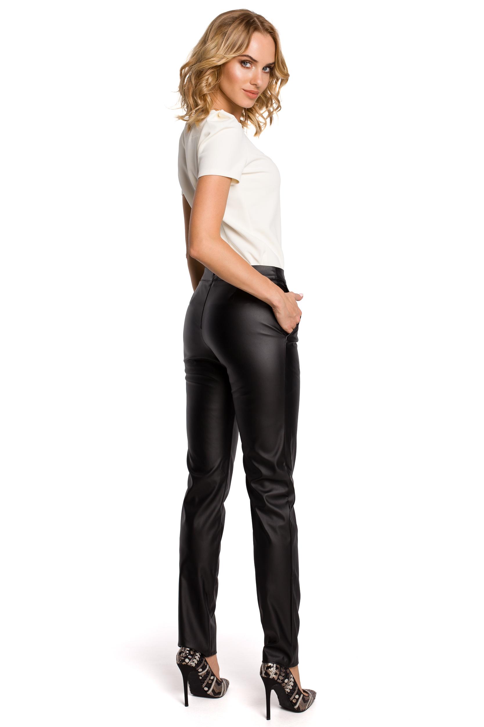 Damskie spodnie rurki ze skóry ekologicznej czarne MOE144