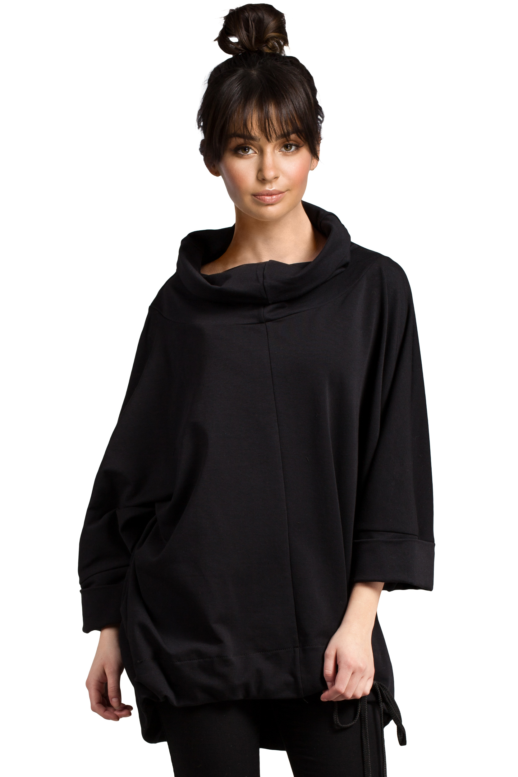 5b617bad Damska bawełniana bluza oversize z kominem czarna B027