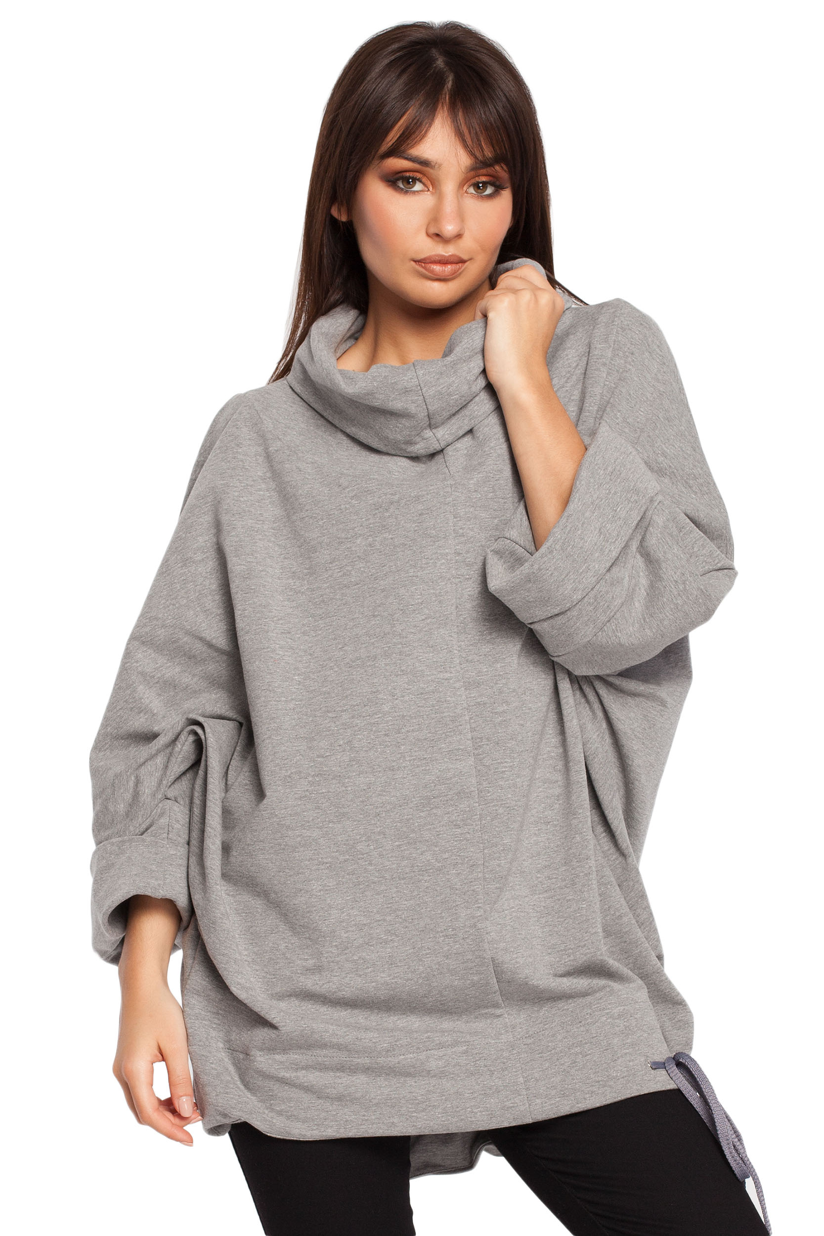 Damska bawełniana bluza oversize z kominem szara B027
