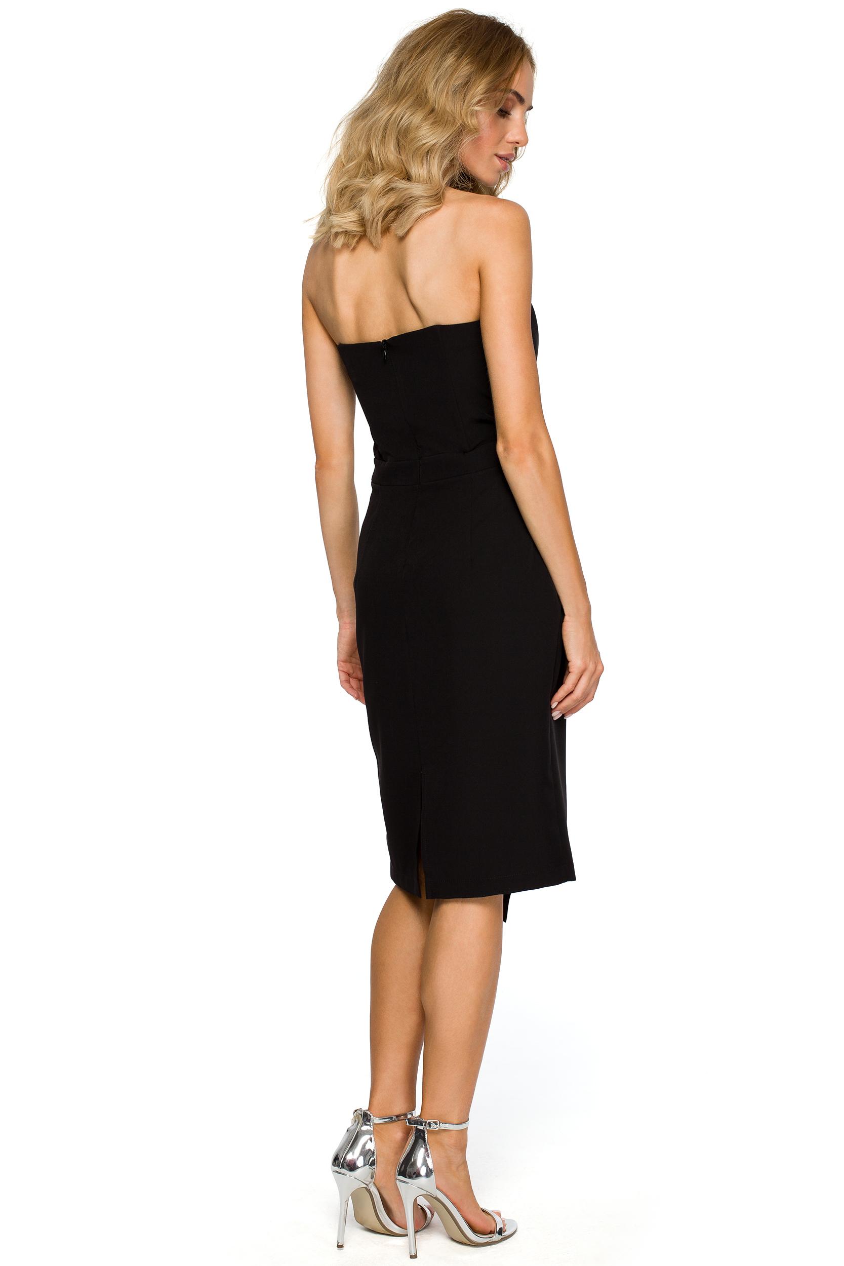 750cbe0053 Asymetryczna sukienka wieczorowa z gorsetem czarna M409