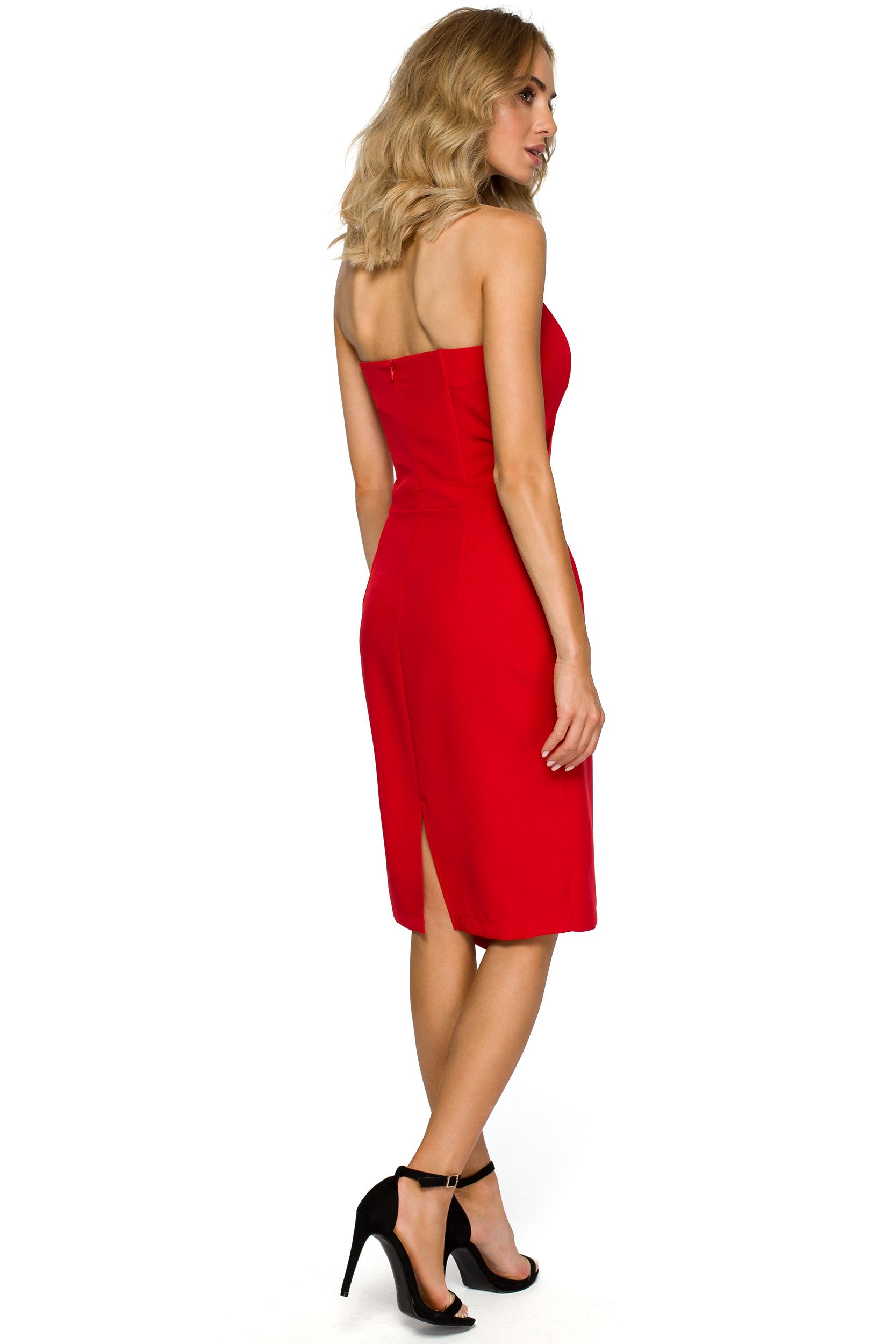 82bc4f84ca Asymetryczna sukienka wieczorowa z gorsetem czerwona M409