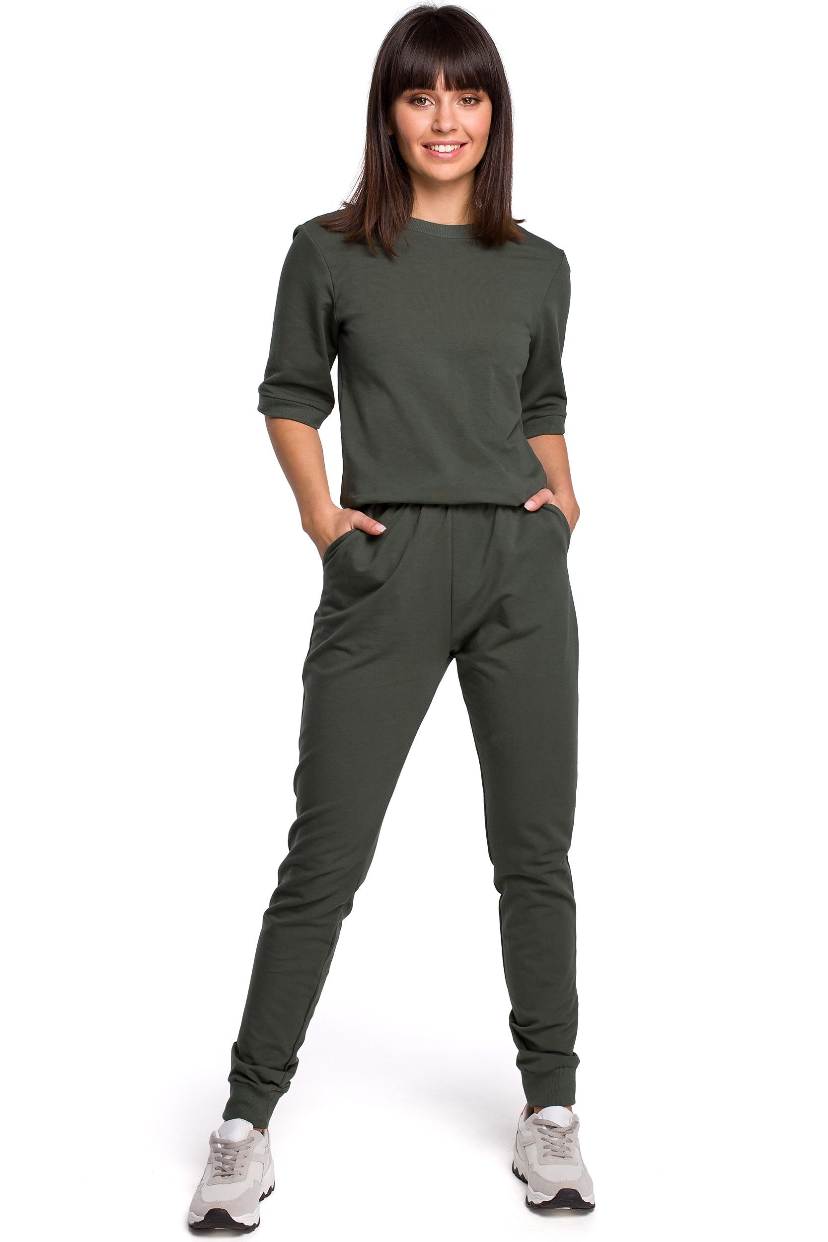 Modernistyczne Damski kombinezon dresowy z dekoltem na plecach khaki EN32
