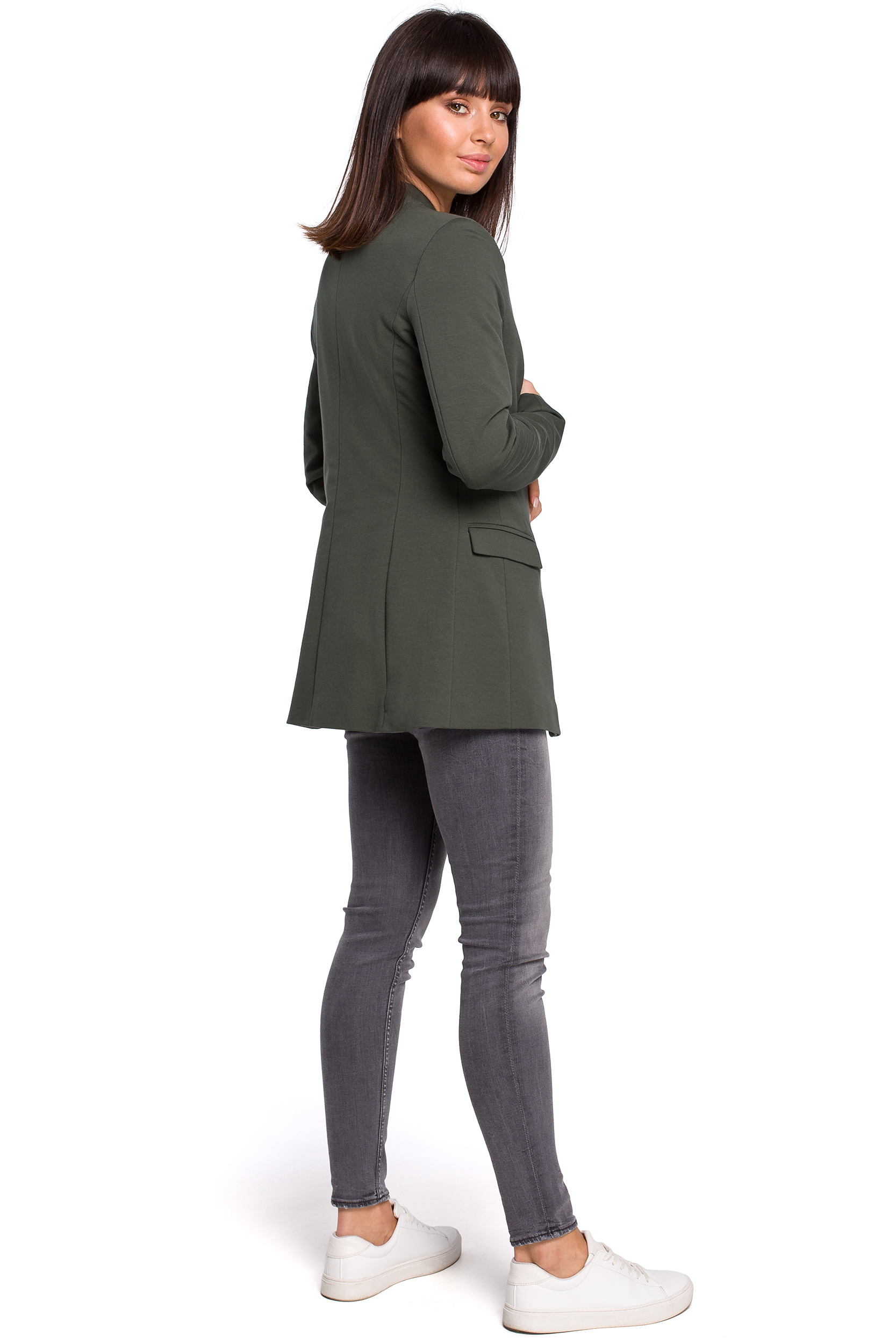 7af4287beefa2 Jackets, jumpers. ‹ › Długa dzianinowa marynarka damska bez zapięcia khaki  B102 ...