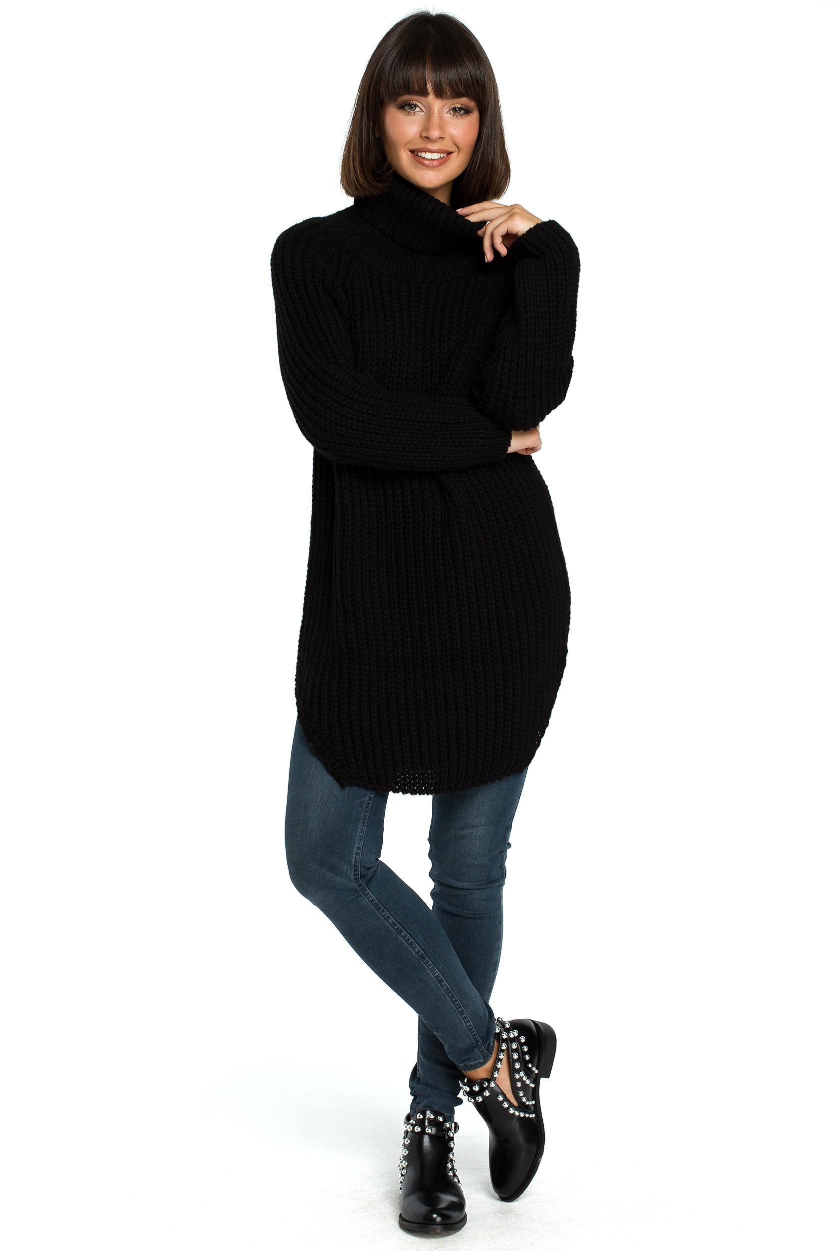 Długi Damski Sweter Z Golfem Czarny Bk005