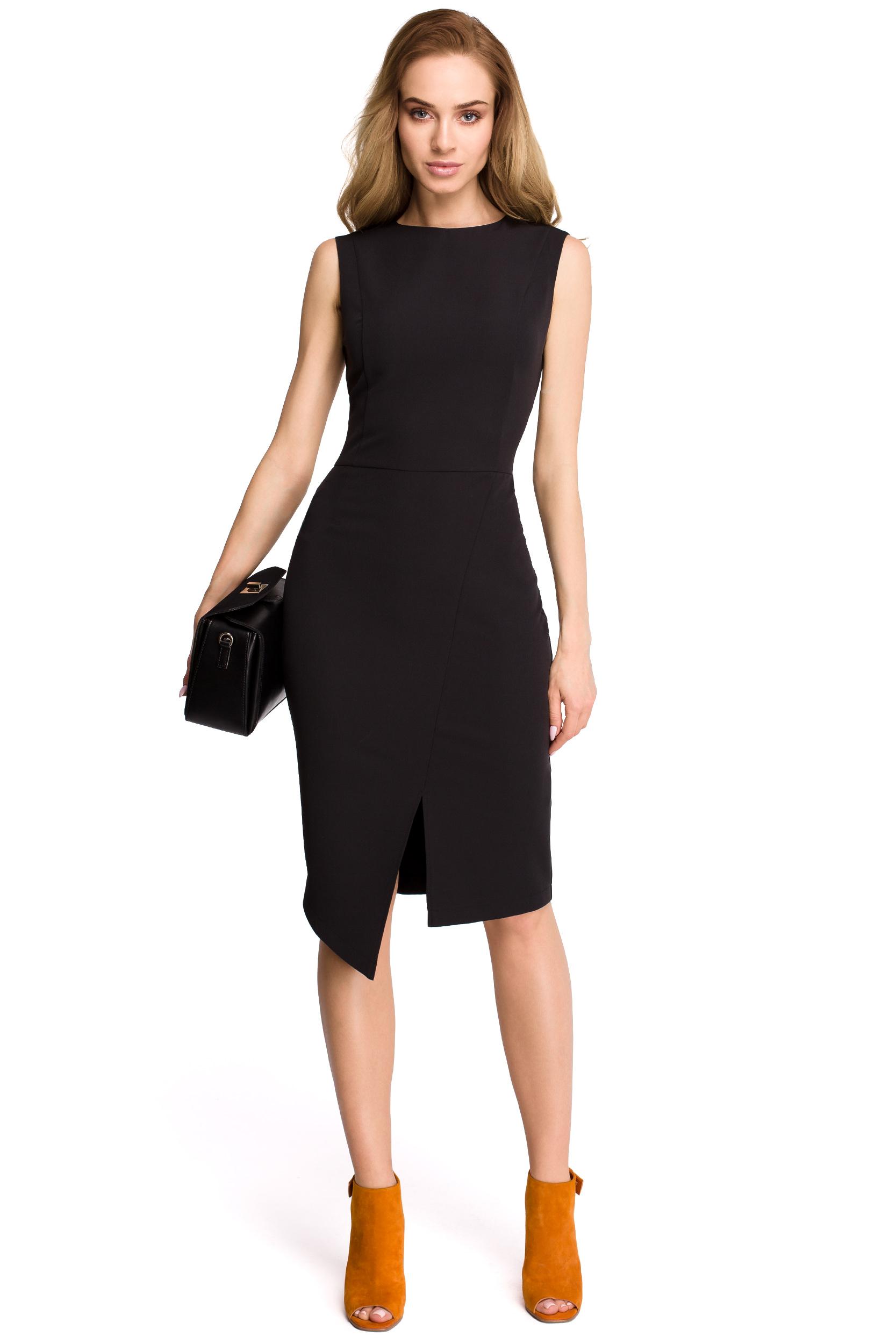 200118de6b Klasyczna elegancka sukienka bez rękawów z asymetrycznym rozcięciem czarna  S105