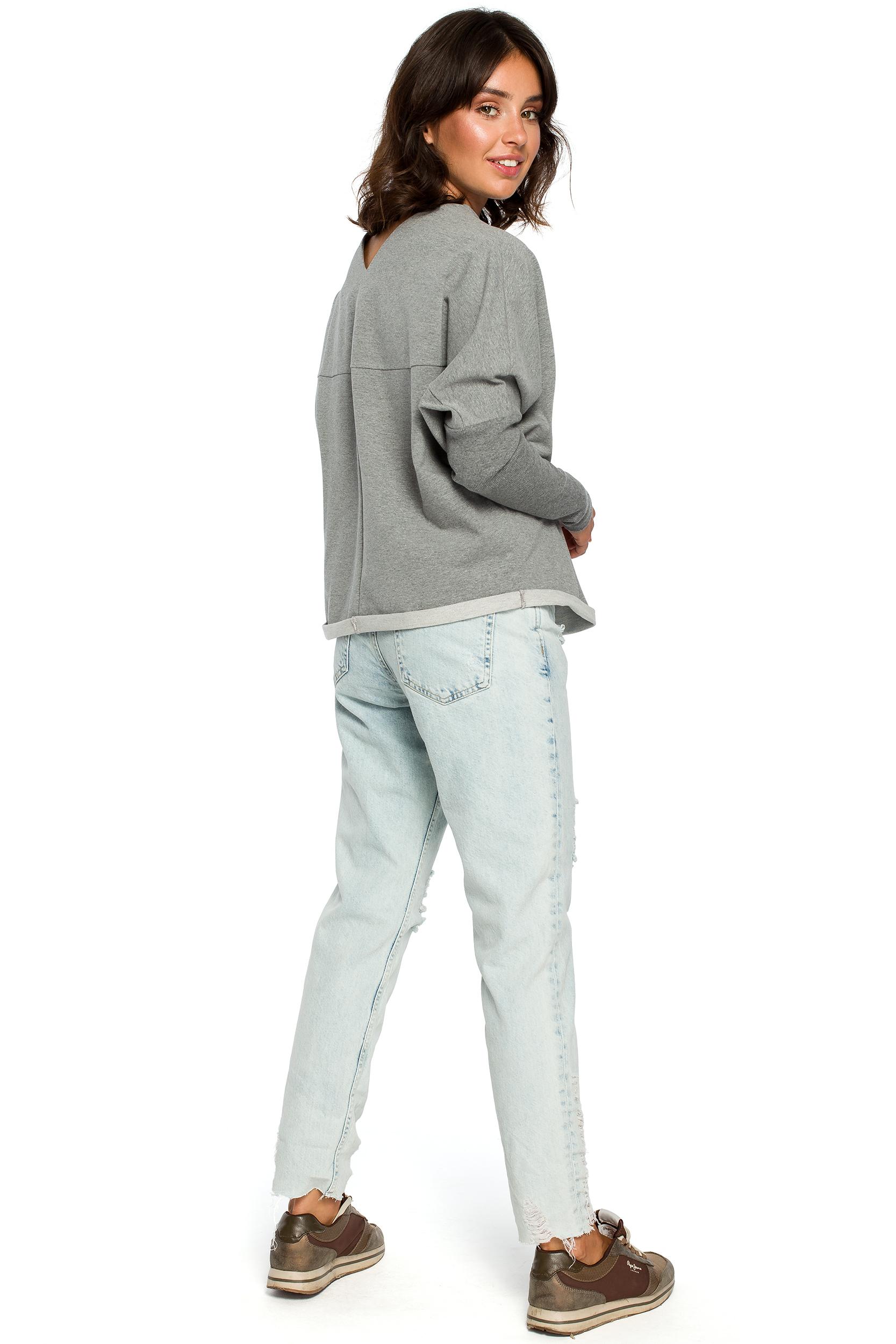 50051f5141 Luźna bluza damska z dekoltem z tyłu szara B094