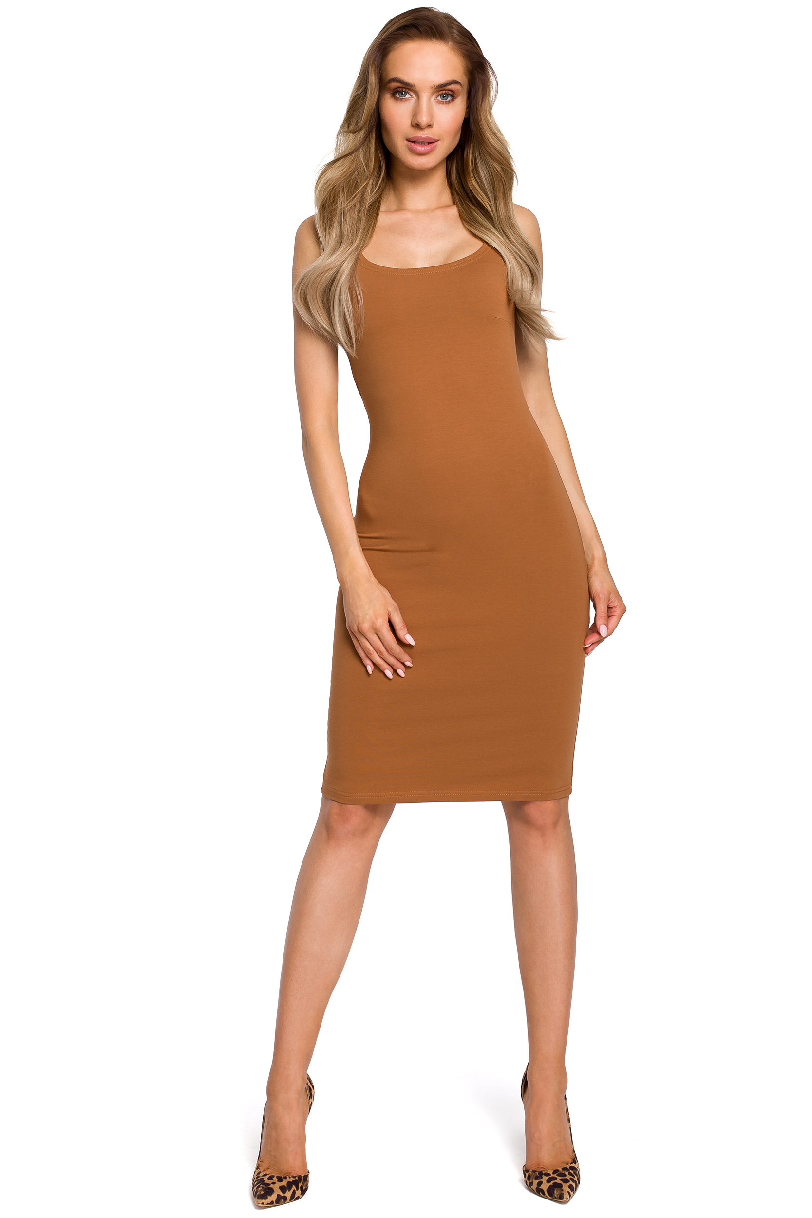 a1c4ba5d99 Sukienki. ‹ › Prosta obcisła bawełniana sukienka mini na ramiączkach  karmelowa M414 ...