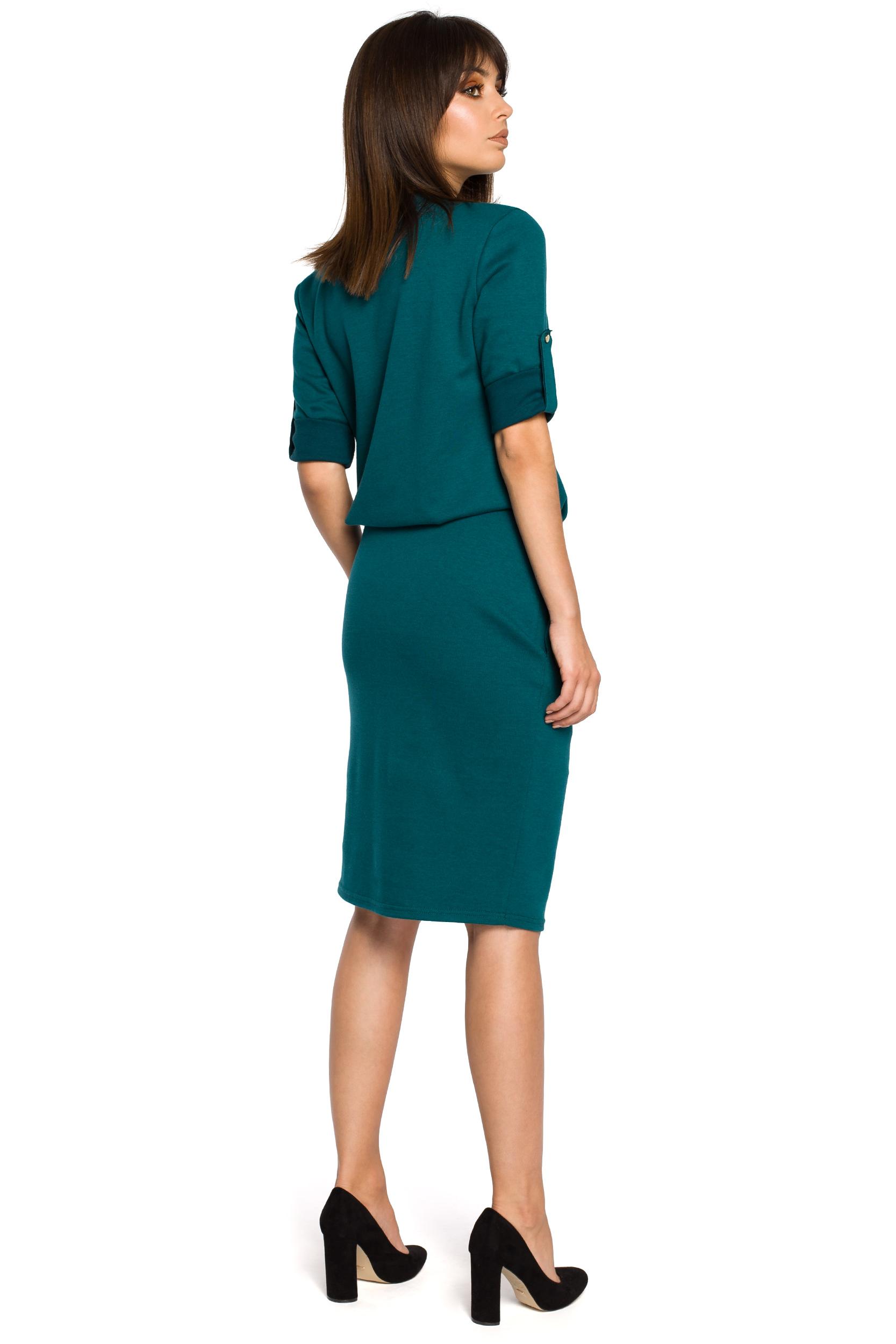 eabed67e Sukienka ołówkowa midi z wyjątkowym dekoltem zielona B056