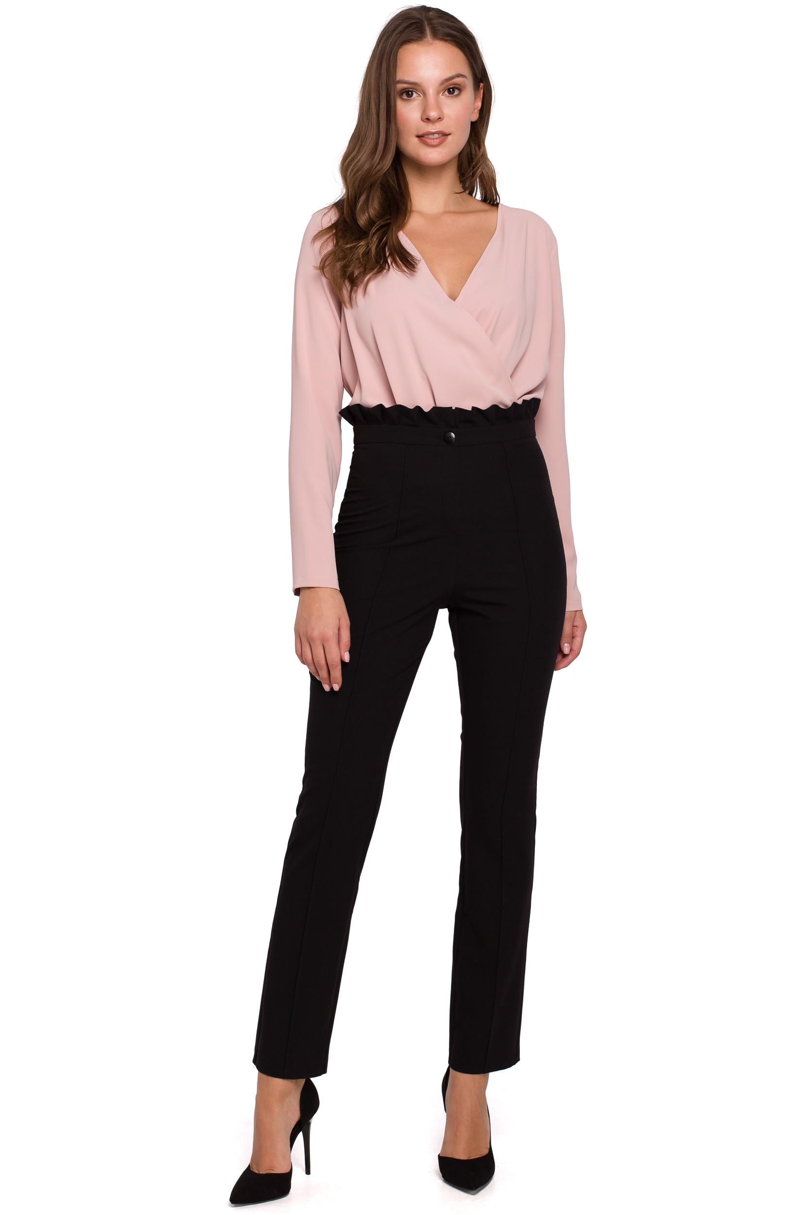 Eleganckie spodnie damskie z wysokim stanem i zakładkami czarne K008