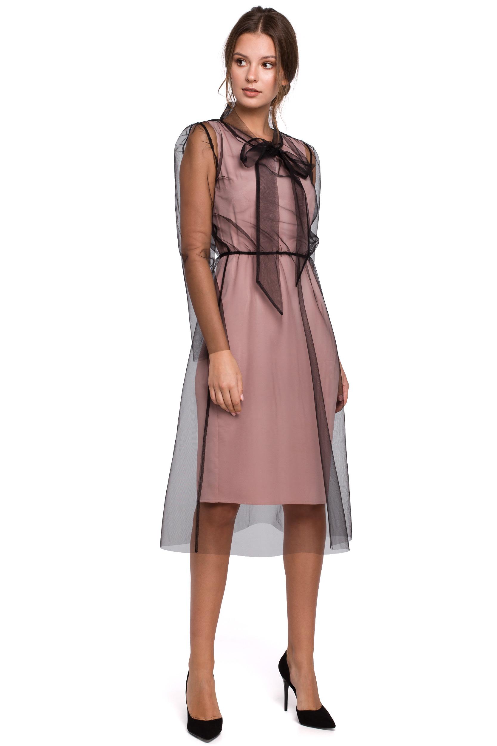 Sukienka tiulowa midi z wiązaniem przy szyi różowa K039